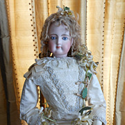 Fabulous French Fashion Poupee Peau Doll in Original Wedding Gown Costume