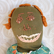 Vintage Black Cloth Folk Art Rag Doll