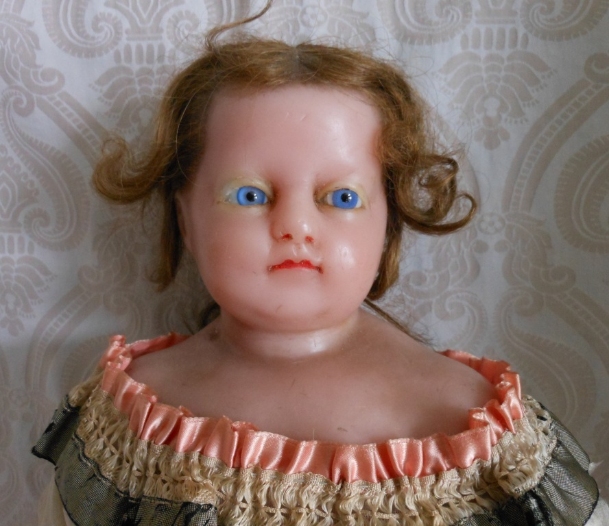 Antique English Poured Wax Doll