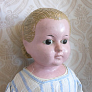 Large Antique German Wax Over Composition Doll with Alice Hairstyle