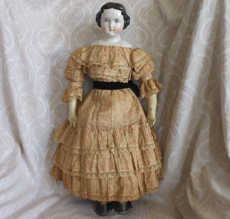 Fabulous Large Glazed Porcelain China Head Doll by Alt, Beck & Gottschalck