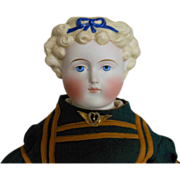 German Parian Bisque Doll with Blue Bow Decoration by Alt, Beck & Gottschalck