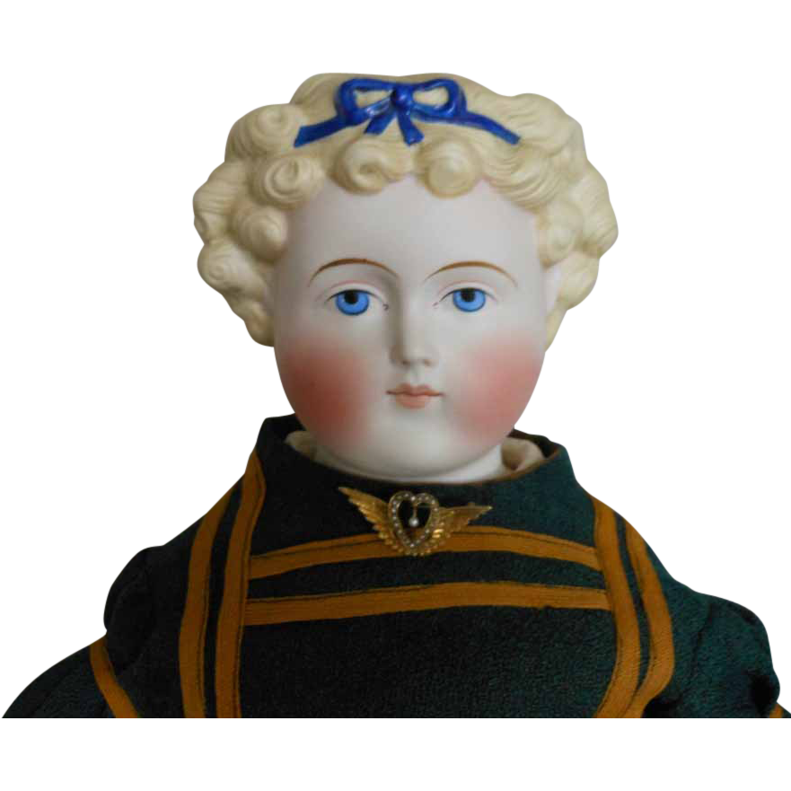 German Parian Bisque Doll with Blue Bow Decoration by Alt, Beck & Gottschalck