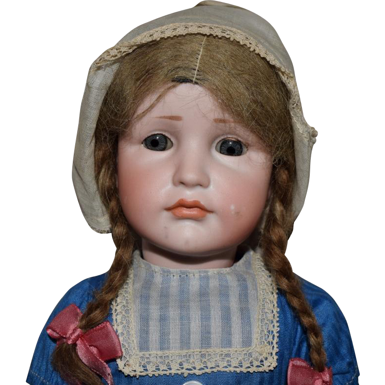 German Bisque Kammer & Reinhardt Character Doll 114 Gretchen with Rare Glass Eyes