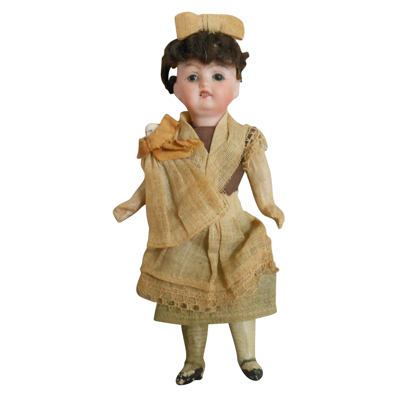 All Original German Bisque Head Doll of Nanny with Baby
