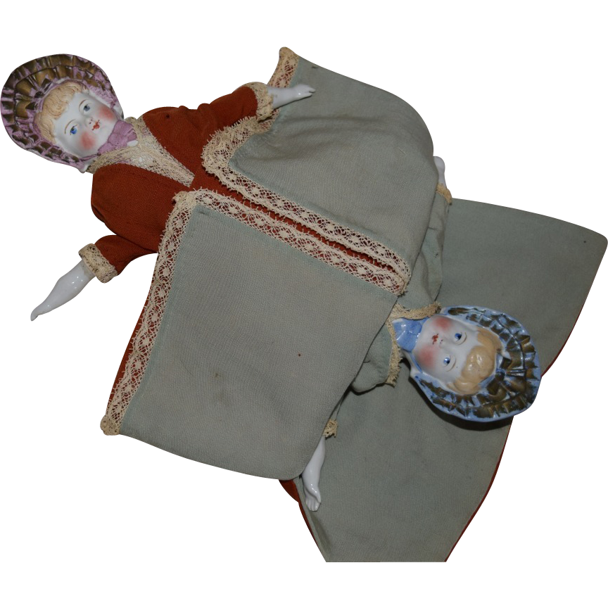 Topsy Turvy Two Face German Bisque Bonnet Head Doll
