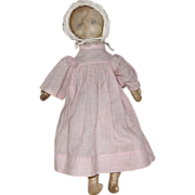 Antique Cotton Sateen Cloth Doll with Faded Painted Face