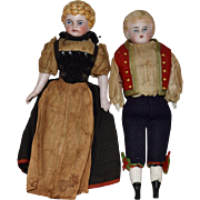 German Bisque All Original Pair of Dolls in Ethnic Costumes
