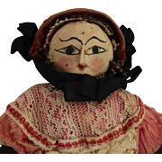 All Original Cloth and Wood Mystery Doll with Beauty Marks