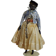 Early German Papier Mache Black Doll with Wooden Limbs