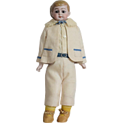 German Bisque Head American School Boy Doll