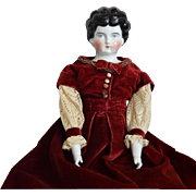 German Low Brow German China Head Doll by Hertwig