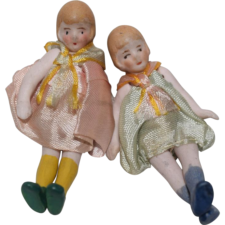 German All Bisque Dolls in Original Clothing