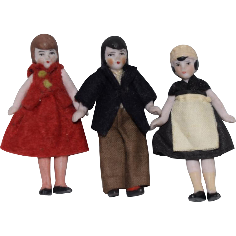 Three All Bisque German Doll House Dolls in Original Clothing