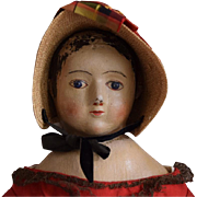 Antique Oil Painted Doll in the Style of Izannah Walker