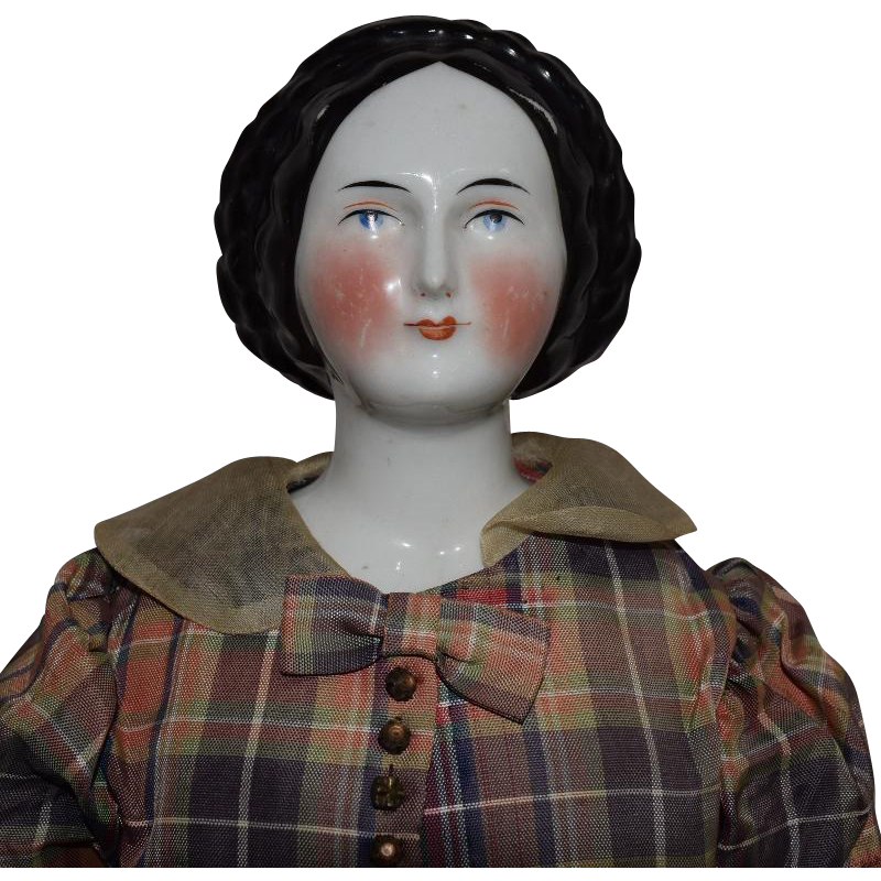 Conta & Boehme Glazed Porcelain German China Head Doll with Fancy Hairstyle