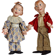 Baby Snooks and Mortimer Snerd Composition Flexy Celebrity Dolls by Ideal