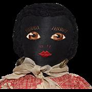 Antique Black Sateen Cloth Folk Art Doll