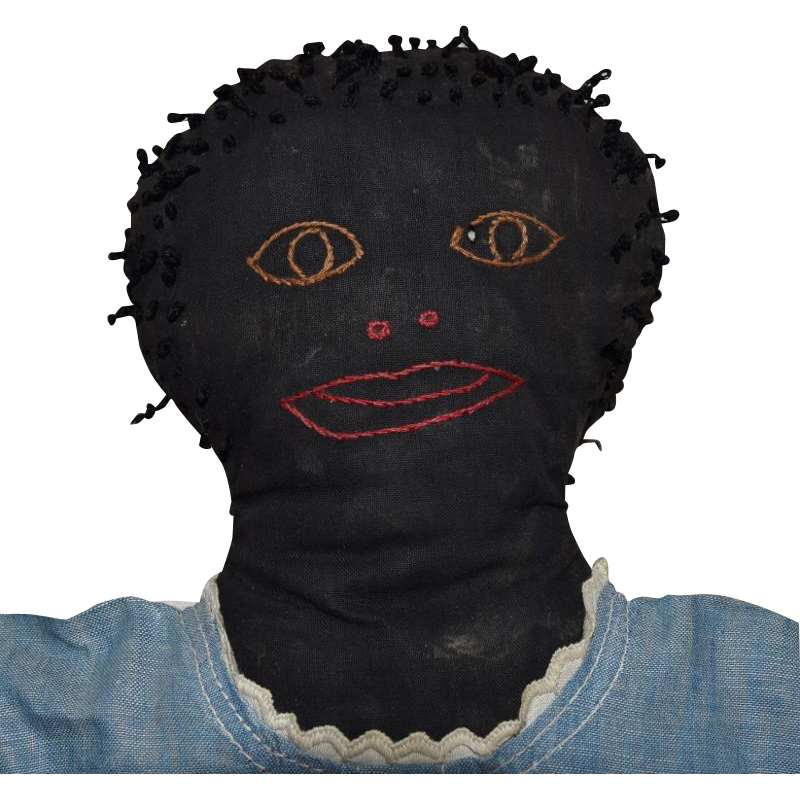 Antique Primitive Black Cloth Folk Art Doll