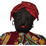 Black Cloth Doll with Black Jet Eyes
