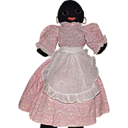 Vintage Black Stockinette Doll with Black Jet Eyes