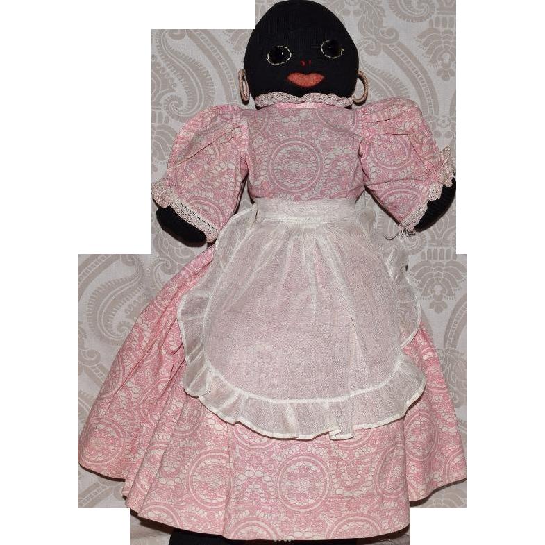 Vintage Black Stockinette Doll with Black Jet Eyes