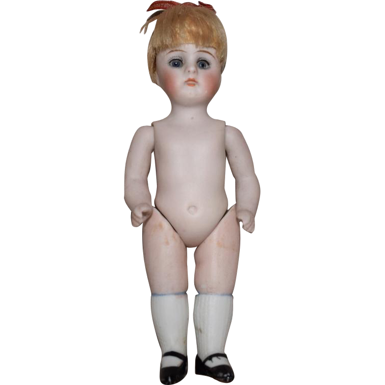 Kestner German All Bisque Doll with Stiff Neck and Sleep Eyes