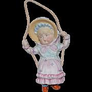 Kate Greenaway Type German All Bisque Swinger Figurine