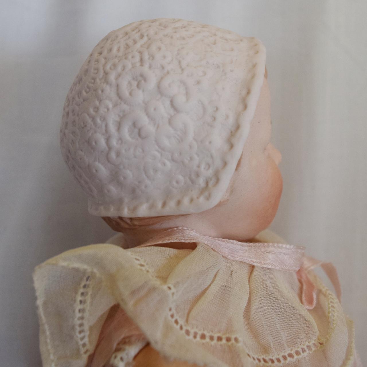 German Bisque Gebruder Heubach Bonnet Head Doll from joan ...