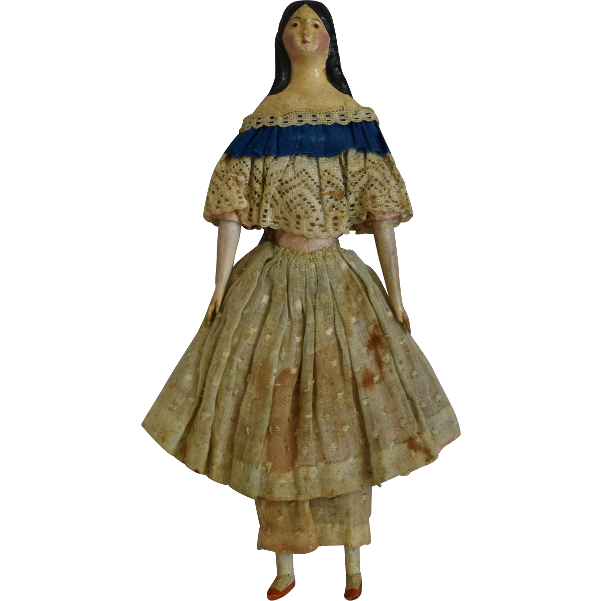 All Original German Milliner's Model Papier Mache Doll with Provenance
