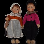 All Original German Cloth Bing Art Doll Pair