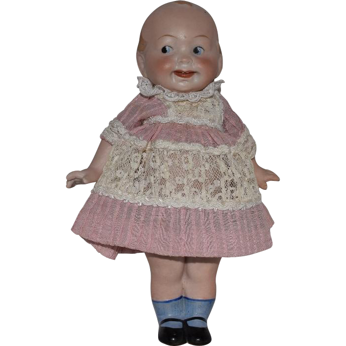 "German All Bisque ""Wide Awake"" Googly Doll"