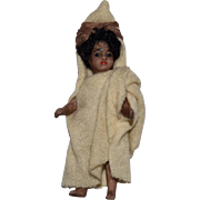 All Original Les Lilliputians French All Bisque Brown Doll in Ethnic Costume