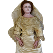 English Poured Wax Doll Lady in Wedding Gown