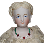 German Bisque Head Parian Lady Doll with Fancy Hairstyle