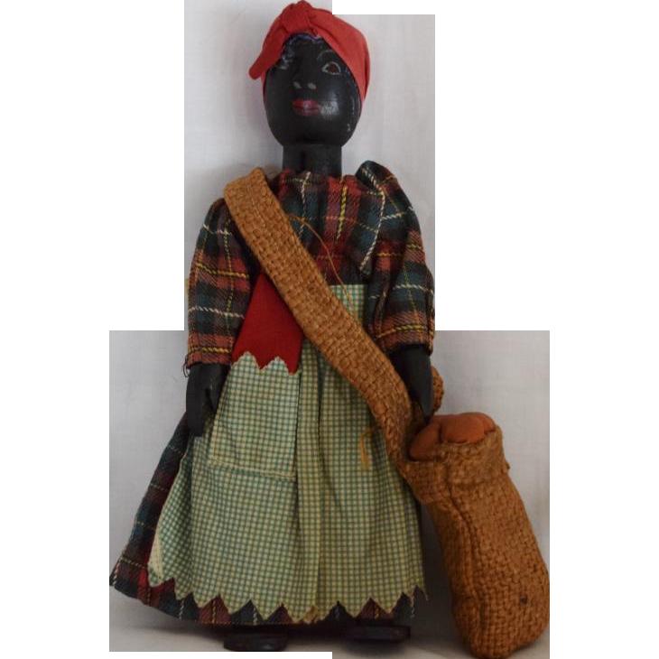 All Original Vintage Black Americana Wooden Doll