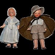 Vintage Pair of Dolls in Original Pilgrim Costumes