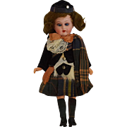 All Original German Painted Bisque Doll in Scottish Costume