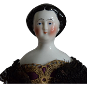 Early German Glazed Porcelain China Head Doll with Rare Hairstyle