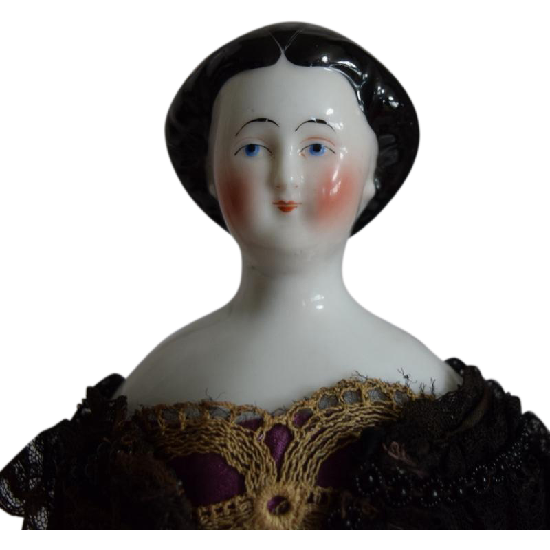 Early German Glazed Porcelain China Head Doll With Rare