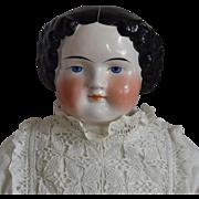 Large German Glazed Porcelain China Head Doll by Alt, Beck & Gottschalck