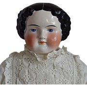 Large German Glazed Porcelain China Head Doll by Alt, Beck & Gottschalck