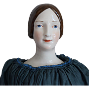 KPM China Head Lady Doll with Brown Hair