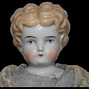 Blonde German China Head Doll by Hertwig