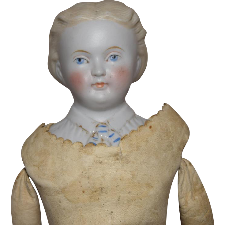 German Kling Bisque Parian Head Doll with Fancy Decorated Shoulder Plate