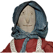 Antique Cloth Doll with Embroidered and Sculpted Facial Features