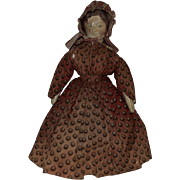 Early Cloth Doll with Leather Head