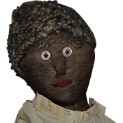 Antique Silk Stockinette Black Doll with Embroidered and Needle Sculpted Face