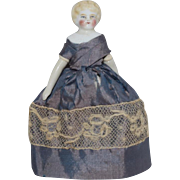 German China Head Dollhouse Doll with Blonde Hair