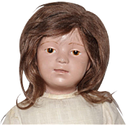 Schoenhut Wooden Character Doll with Brunette Wig